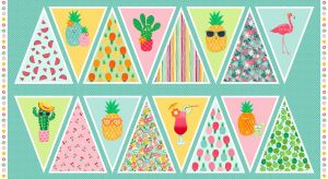 Small Image of Makower Fabric Fruity Friends Bunting Panel 60cm x 110cm