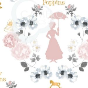 Mary Poppins Damask in White Quilting Fabric