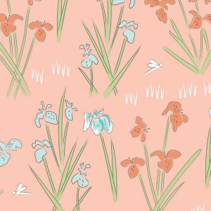 Lily Pad Lily Salmon Quilting Fabric