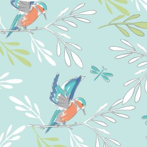 Lily Pad Kingfisher Blue Quilting Fabric
