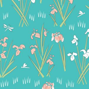 Lily Pad Lily Teal Quilting Fabric