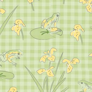 Lily Pad Frogs on Gingham Quilting Fabric
