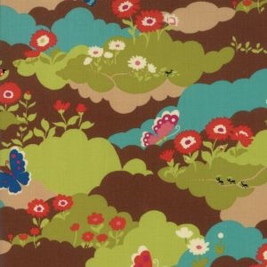 Small Image of Moda Fabric Lucky Day Butterfly Field Multi Cocoa