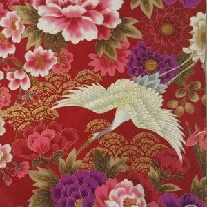 Large Image of Nutex Japanese Floral Metallic Red Fabric