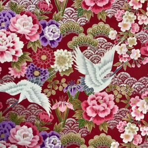 Large Image of Nutex Japanese Floral Metallic Deep Red Fabric