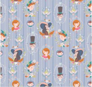 Small Image of Riley Blake Fabric Neverland Darling Wall Periwinkle
