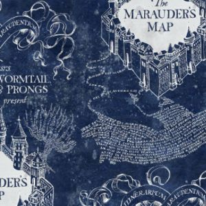 Harry Potter Marauders Map Blue Quilting Fabric