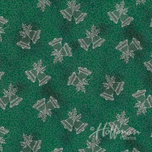 Base Image of Hoffman Winter Blossom Green Quilting Fabric 3298-805