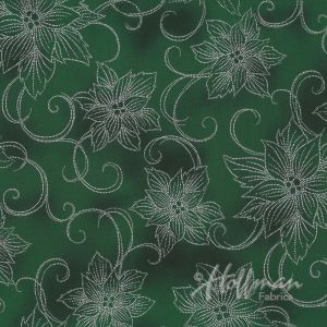 Base Image of Hoffman Winter Blossom Green Quilting Fabric 3298-813