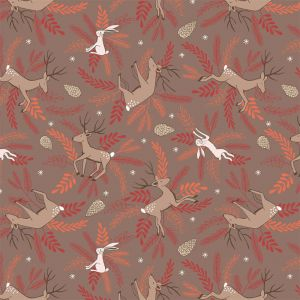 Lewis Irene New Forest Winter Earth Deer and Hare Fabric