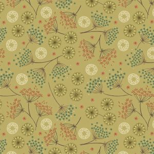 Lewis Irene New Forest Winter Green Floral Fabric