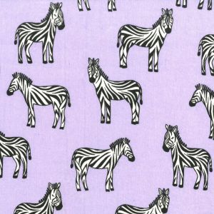 Small Image of Michael Miller Flannel Baby Zoo Zippy Zebra Lavender Cotton Fabric