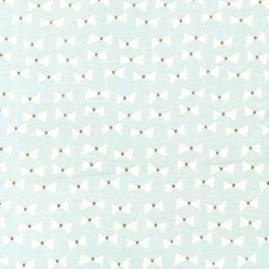 Small Image of Michael Miller Wee Sparkle Bow Ties Mist With Metallic Cotton Fabric