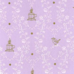 Small Image of Michael Miller Wee Sparkle Free Bird Opal With Metallic Cotton Fabric
