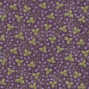 Large Image of Moda Clover Meadow Leaves Purple Fabric