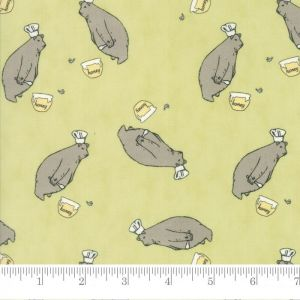 Moda Darling Little Dickens Honey Bear Spring Green Quilting Fabric