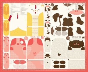 Small Image of Moda Fabric Farm Fun Fabric Panel Cow Chicken Sheep and Pig