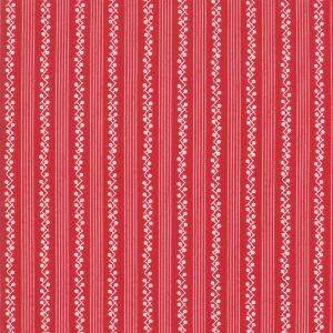 Moda Fabric My Redwork Garden Morning Glories Stripe Red