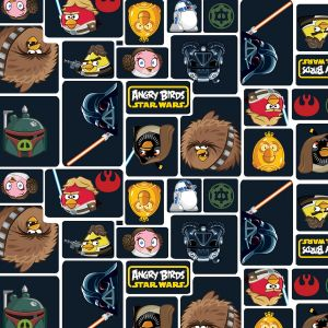 Small Image of Patchwork Fabric Angry Birds Star Wars Character Blocks Dark Navy