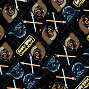 Small Image of Patchwork Fabric Childrens Angry Birds Star Wars Fabric Black Duel