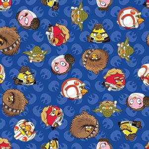 Small Image of Patchwork Fabric Childrens Angry Birds Star Wars Fabric Rebel Leaders Blue