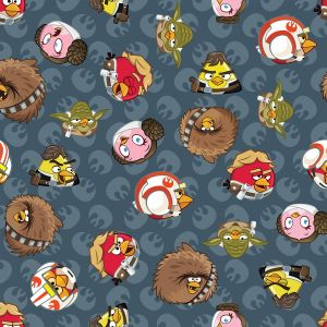 Small Image of Patchwork Fabric Childrens Angry Birds Star Wars Fabric Rebel Leaders Grey