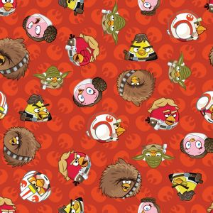 Small Image of Patchwork Fabric Childrens Angry Birds Star Wars Fabric Rebel Leaders Red