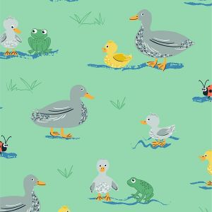 Puddles and Boots Fabric Ducks and Frogs Green by Diane Rooney