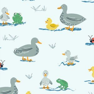 Puddles and Boots Fabric Ducks and Frogs Pale Blue by Diane Rooney