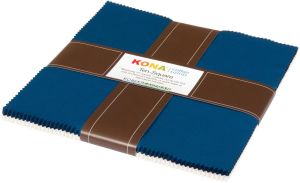 Small Image of Robert Kaufman Ten Square 10 Inch Squares of Kona Cotton Fabric Prussian & Snow 42 Pieces Per Pack