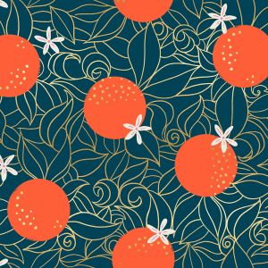 Ruby Star Fabric Florida Orange Blossoms Peacock RS2025 14M