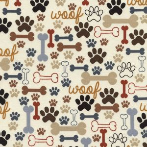 Small Image of Timeless Treasures Fabric I love Dogs Paw Prints And Bones Cream