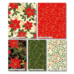Traditional Christmas Holly Metallic Fat Quarter Pack